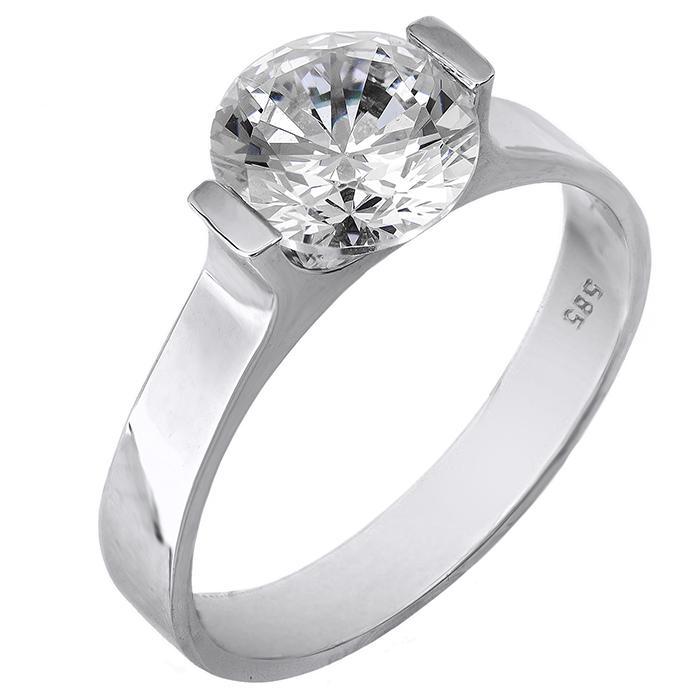Χειροποίητο μονόπετρο δαχτυλίδι λευκόχρυσο Κ14 024353 024353 Χρυσός 14 Καράτια