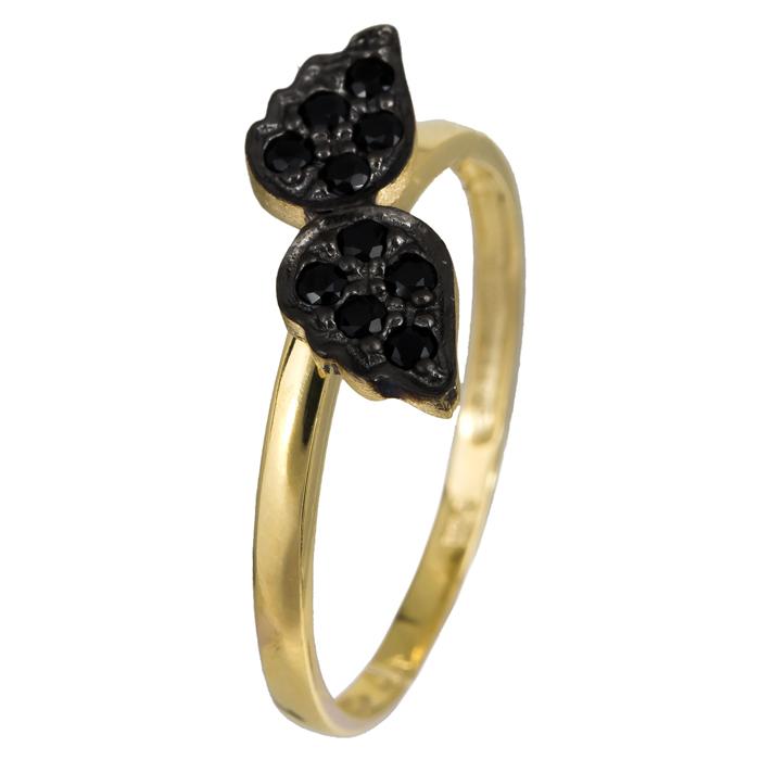 Χρυσό δαχτυλίδι Κ14 με μαύρα φτερά 024354 024354 Χρυσός 14 Καράτια