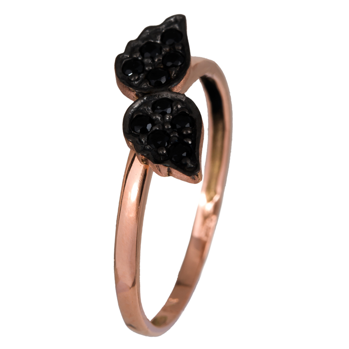 Ροζ gold δαχτυλίδι Κ14 με μαύρα φτερά 024355 024355 Χρυσός 14 Καράτια