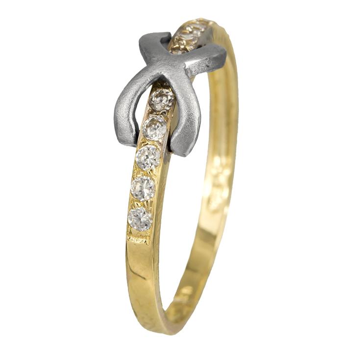 Δίχρωμο δαχτυλίδι άπειρο Κ14 με ζιργκόν 024356 024356 Χρυσός 14 Καράτια