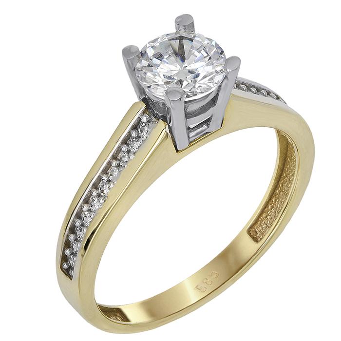 Μονόπετρο δαχτυλίδι Κ14 με ζιργκόν 024367 024367 Χρυσός 14 Καράτια χρυσά κοσμήματα δαχτυλίδια μονόπετρα