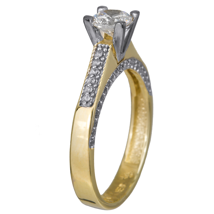 Δαχτυλίδι γάμου δίχρωμο Κ14 swarovski 024368 024368 Χρυσός 14 Καράτια