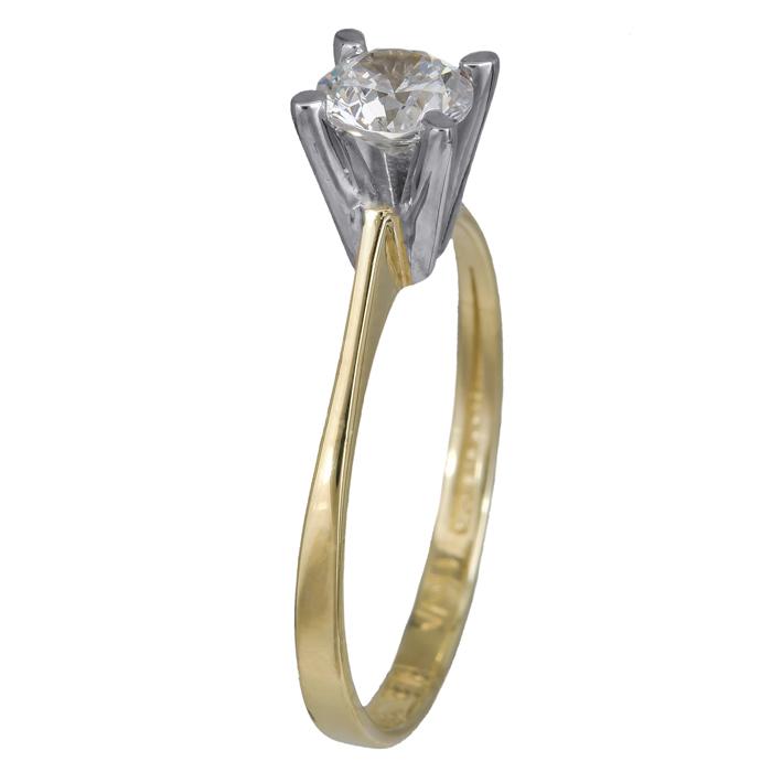 Δίχρωμο μονόπετρο δαχτυλίδι Κ14 024370 024370 Χρυσός 14 Καράτια