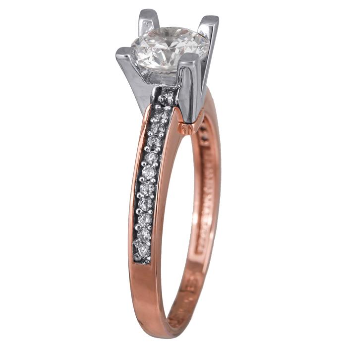 Ροζ χρυσό μονόπετρο δαχτυλίδι Κ14 024373 024373 Χρυσός 14 Καράτια