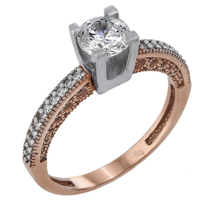 Μονόπετρο δαχτυλίδι Κ14 024375 024375 Χρυσός 14 Καράτια