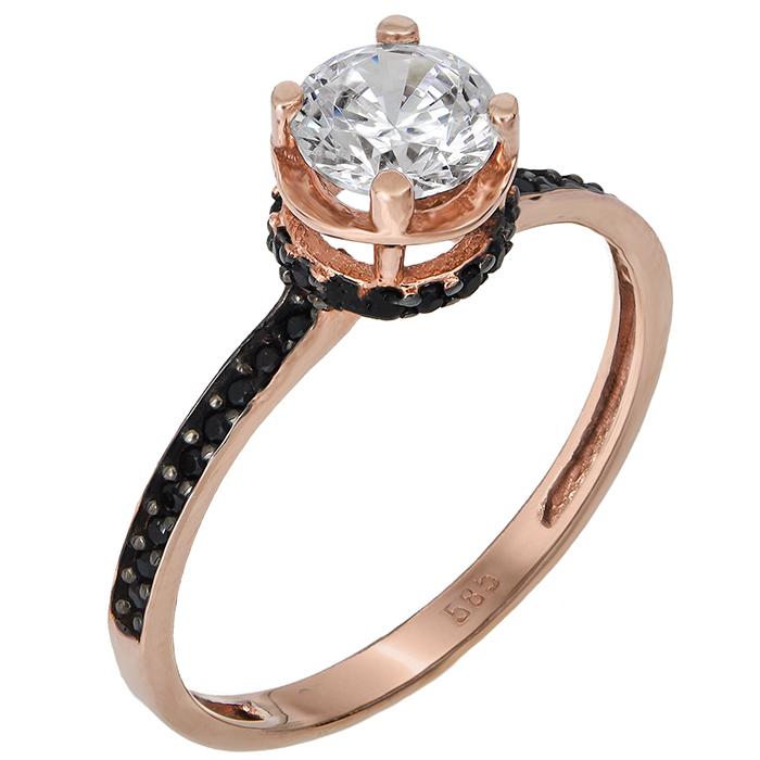 Μονόπετρο ροζ gold Κ14 024376 024376 Χρυσός 14 Καράτια