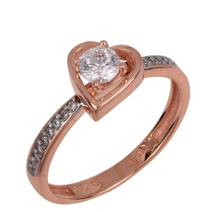Μονόπετρο ροζ gold καρδιά Κ14 024377 024377 Χρυσός 14 Καράτια