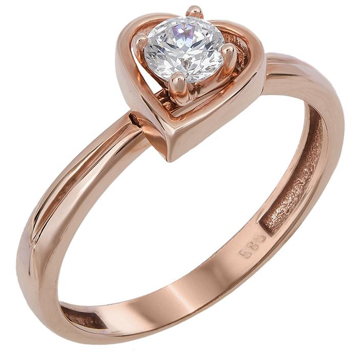 Μονόπετρο καρδιά με ζιργκόν Κ14 024378 024378 Χρυσός 14 Καράτια χρυσά κοσμήματα δαχτυλίδια μονόπετρα