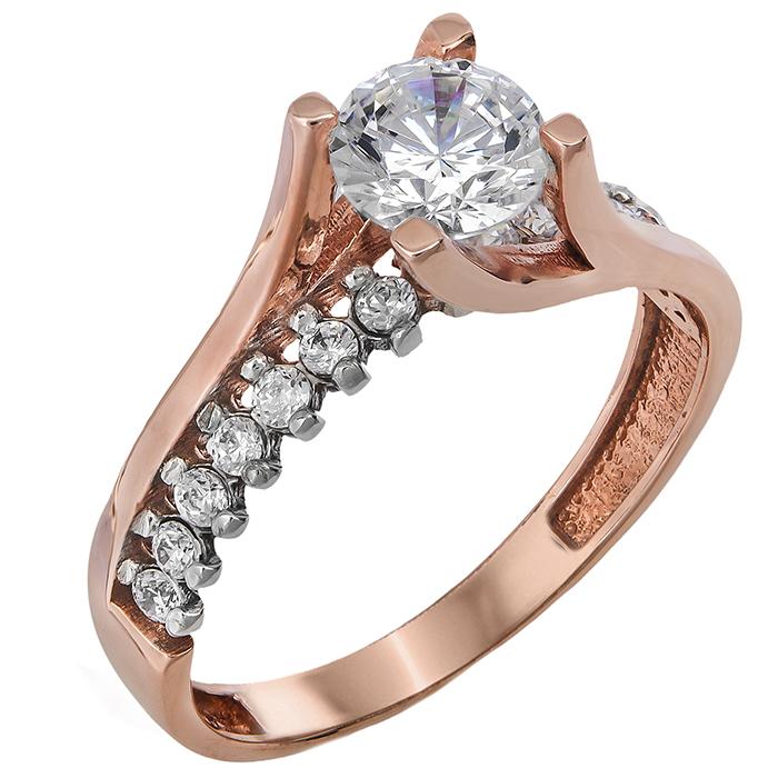 Δίχρωμο μονόπετρο δαχτυλίδι Κ14 024380 024380 Χρυσός 14 Καράτια