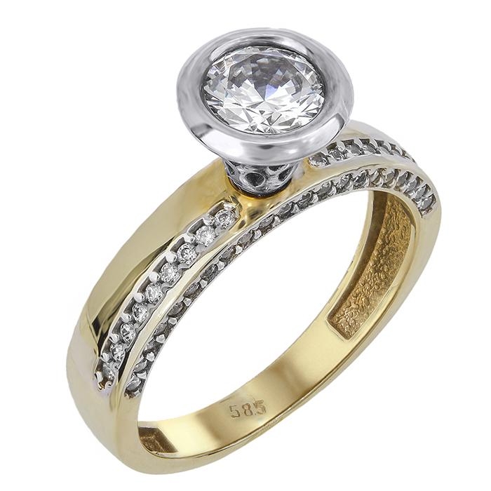 Δίχρωμο μονόπετρο δαχτυλίδι γάμου Κ14 024384 024384 Χρυσός 14 Καράτια