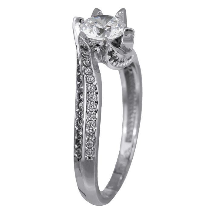Δαχτυλίδι λευκόχρυσο Κ14 με πέτρες ζιργκόν swarovski 024392 024392 Χρυσός 14 Καράτια