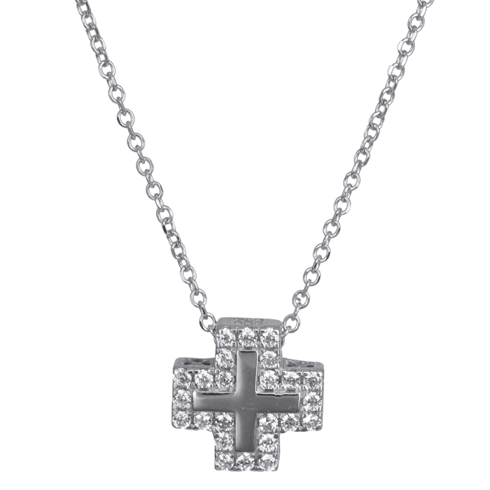 Λευκόχρυσο σταυρουδάκι με πέτρες ζιργκόν Κ14 024399 024399 Χρυσός 14 Καράτια
