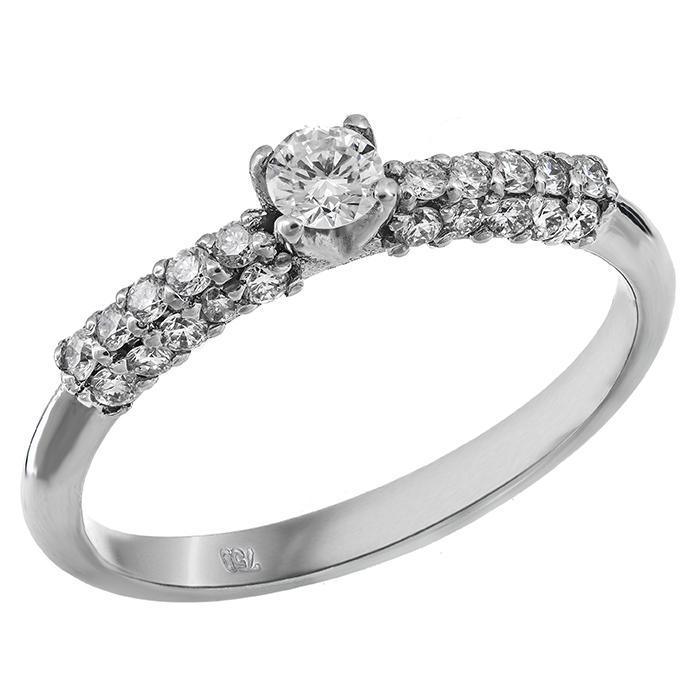 Λευκόχρυσο μονόπετρο με διαμάντια Κ18 024407 024407 Χρυσός 18 Καράτια χρυσά κοσμήματα δαχτυλίδια μονόπετρα