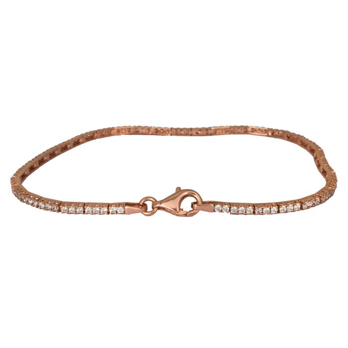 Ροζ gold βραχιόλι γυναικείο 14Κ με ζιργκόν 024410 024410 Χρυσός 14 Καράτια