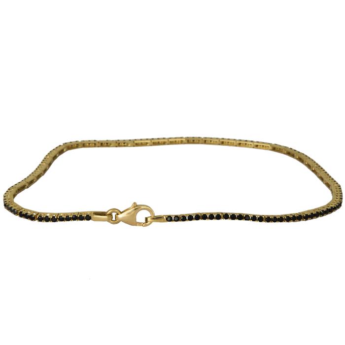 Βραχιόλι ριβιέρα χρυσό 14Κ με μαύρα ζιργκόν 024413 024413 Χρυσός 14 Καράτια