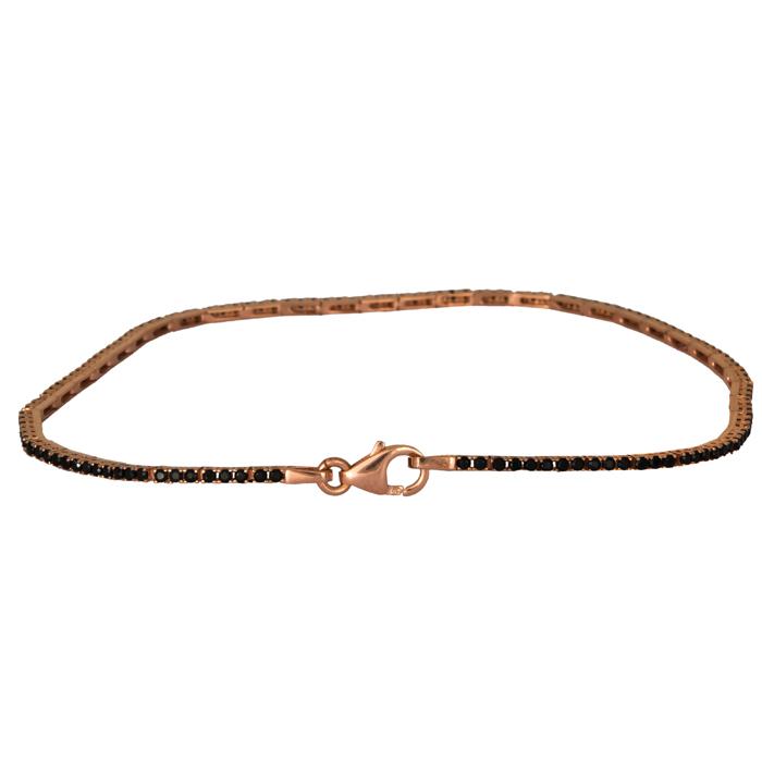 Ροζ gold σειρέ βραχιόλι 14Κ με μαύρα ζιργκόν 024415 024415 Χρυσός 14 Καράτια