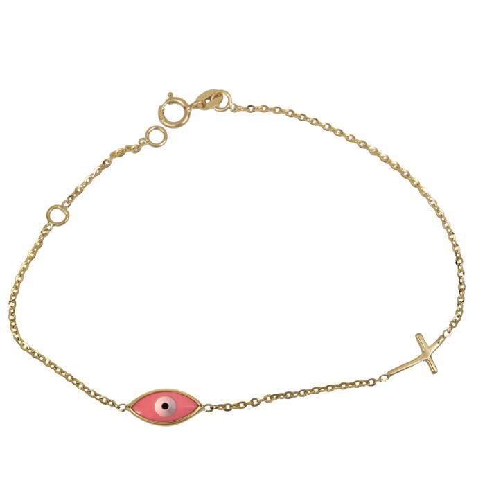 Χρυσό γυναικείο βραχιόλι Κ14 με ροζ μάτι και σταυρό 024422 024422 Χρυσός 14 Καράτια