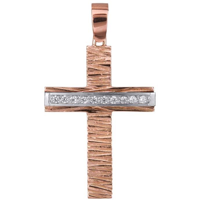 Σταυροί Βάπτισης - Αρραβώνα Ροζ gold σταυρός Κ14 με λευκόχρυσο και ζιργκόν 024426 024426 Γυναικείο Χρυσός 14 Καράτια