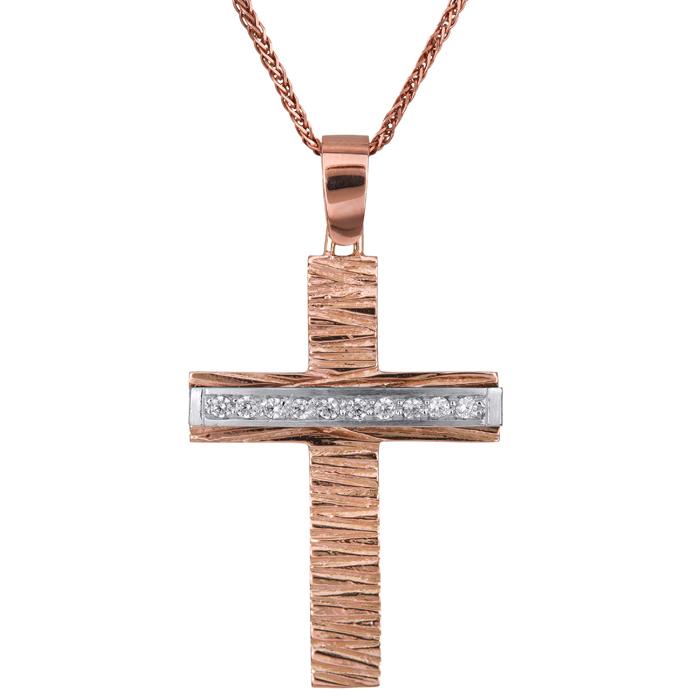 Βαπτιστικοί Σταυροί με Αλυσίδα Ροζ gold σταυρός Κ14 με λευκόχρυσο σετ με καδένα 024426C 024426C Γυναικείο Χρυσός 14 Καράτια