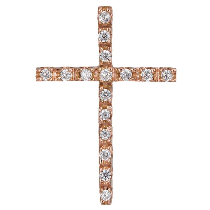 Σταυροί Βάπτισης - Αρραβώνα Γυναικείος σταυρός ροζ με ζιργκόν 14Κ 024427 024427  σταυροί βάπτισης   γάμου σταυροί βάπτισης   αρραβώνα