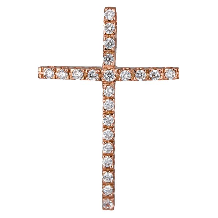 Σταυροί Βάπτισης - Αρραβώνα Ροζ gold γυναικείος σταυρός 14Κ 024428 024428 Γυναικ σταυροί βάπτισης   γάμου σταυροί βάπτισης   αρραβώνα