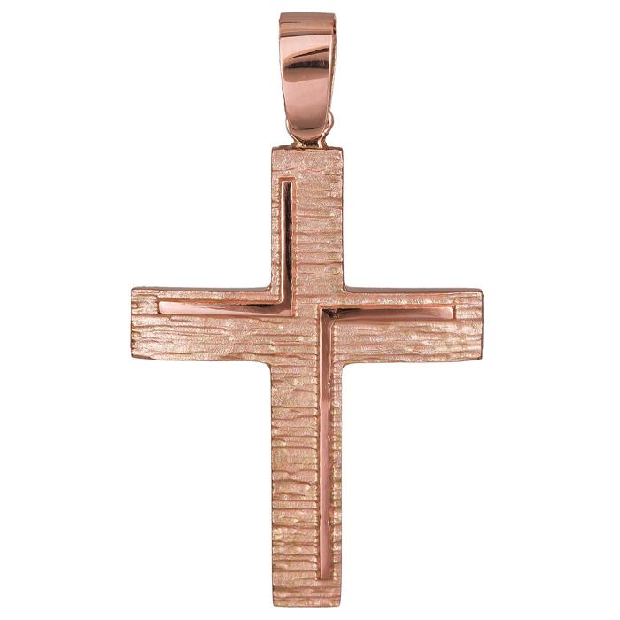 Σταυροί Βάπτισης - Αρραβώνα Ροζ gold σταυρός Κ14 ανάγλυφος ματ 024430 024430 Γυναικείο Χρυσός 14 Καράτια