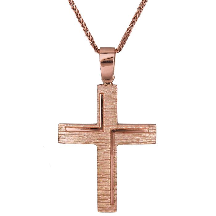 Βαπτιστικοί Σταυροί με Αλυσίδα Ροζ gold σταυρός Κ14 ανάγλυφος ματ με καδένα 024430C 024430C Γυναικείο Χρυσός 14 Καράτια