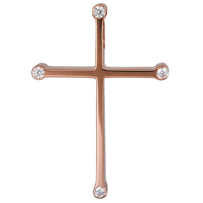 Σταυροί Βάπτισης - Αρραβώνα Ροζ gold σταυρός με πέτρες 14Κ 024432 024432 Γυναικε σταυροί βάπτισης   γάμου σταυροί βάπτισης   αρραβώνα