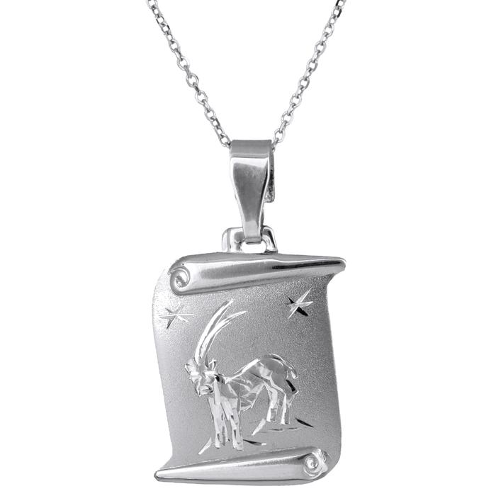 Λευκόχρυσο κρεμαστό του Αιγόκερου με αλυσίδα Κ14 024433C 024433C Χρυσός 14 Καράτια