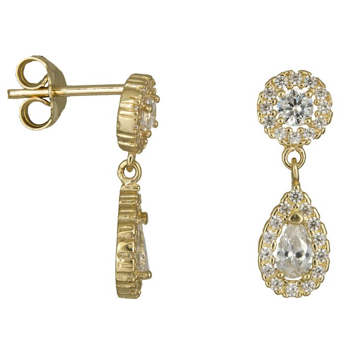 Χρυσά σκουλαρίκια κρεμαστό δάκρυ με ζιργκόν Κ14 024450 024450 Χρυσός 14 Καράτια