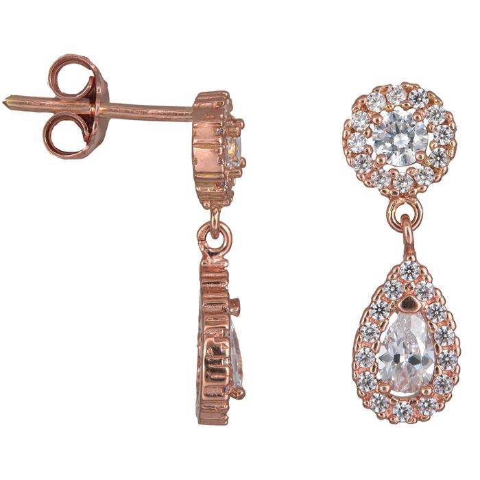 Σκουλαρίκια δάκρυ ροζέτα κρεμαστό ροζ gold Κ14 024452 024452 Χρυσός 14 Καράτια