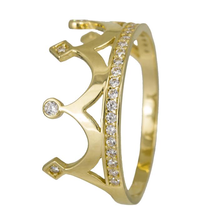 Χρυσό δαχτυλίδι κορώνα Κ14 με ζιργκόν 024456 024456 Χρυσός 14 Καράτια