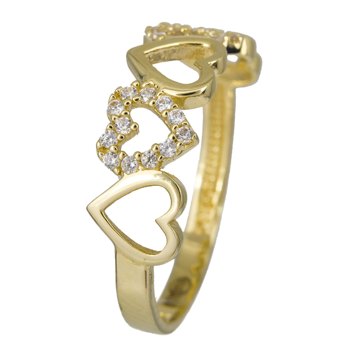 Χρυσό δαχτυλίδι καρδιές με ζιργκόν Κ14 024457 024457 Χρυσός 14 Καράτια χρυσά κοσμήματα δαχτυλίδια με μαργαριτάρια και διάφορες πέτρες
