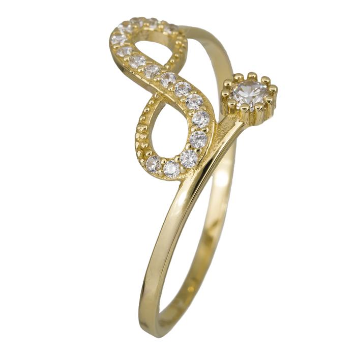 Δαχτυλίδι χρυσό άπειρο με ζιργκόν Κ14 024458 024458 Χρυσός 14 Καράτια