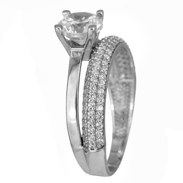 Λευκόχρυσο δαχτυλίδι διπλό 14Κ με ζιργκόν 024459 024459 Χρυσός 14 Καράτια χρυσά κοσμήματα δαχτυλίδια μονόπετρα