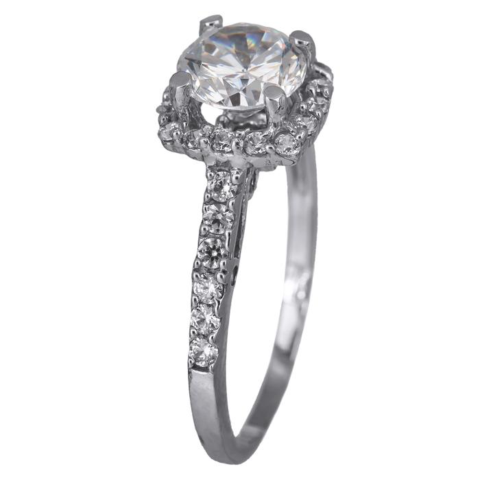 Μονόπετρο λευκόχρυσο δαχτυλίδι 14Κ με ζιργκόν 024460 024460 Χρυσός 14 Καράτια χρυσά κοσμήματα δαχτυλίδια μονόπετρα