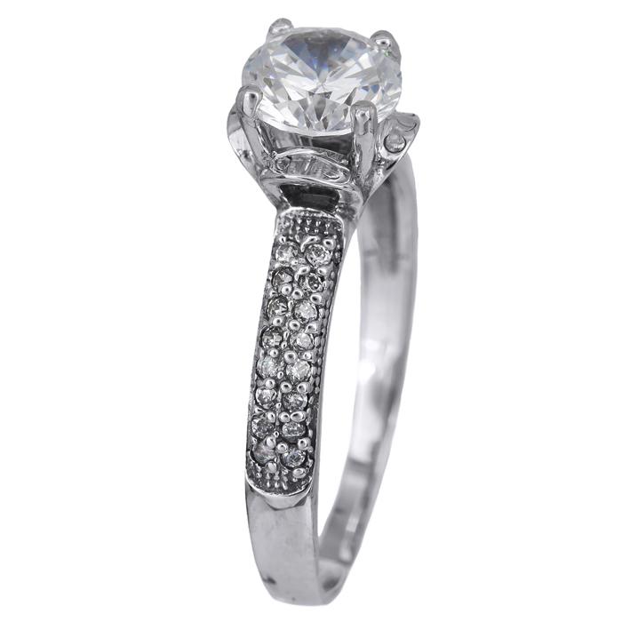 Χειροποίητο μονόπετρο δαχτυλίδι λευκόχρυσο 14Κ 024461 024461 Χρυσός 14 Καράτια