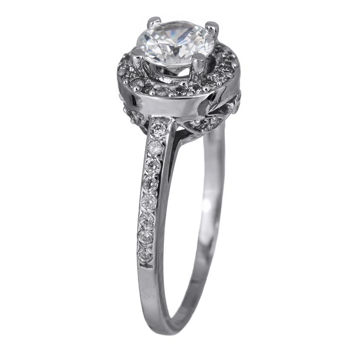 Μονόπετρο δαχτυλίδι λευκόχρυσο με ζιργκόν 14Κ 024462 024462 Χρυσός 14 Καράτια χρυσά κοσμήματα δαχτυλίδια μονόπετρα