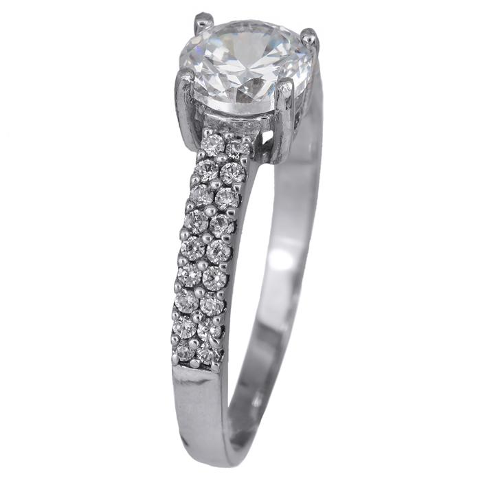Χειροποίητο μονόπετρο δαχτυλίδι λευκόχρυσο 14Κ 024463 024463 Χρυσός 14 Καράτια