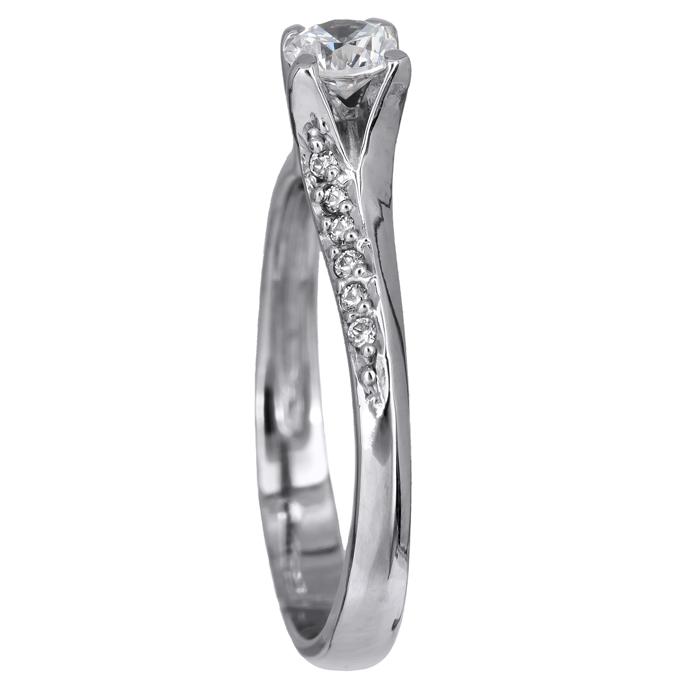Χειροποίητο μονόπετρο δαχτυλίδι λευκόχρυσο 14Κ με ζιργκόν 024464 024464 Χρυσός 14 Καράτια
