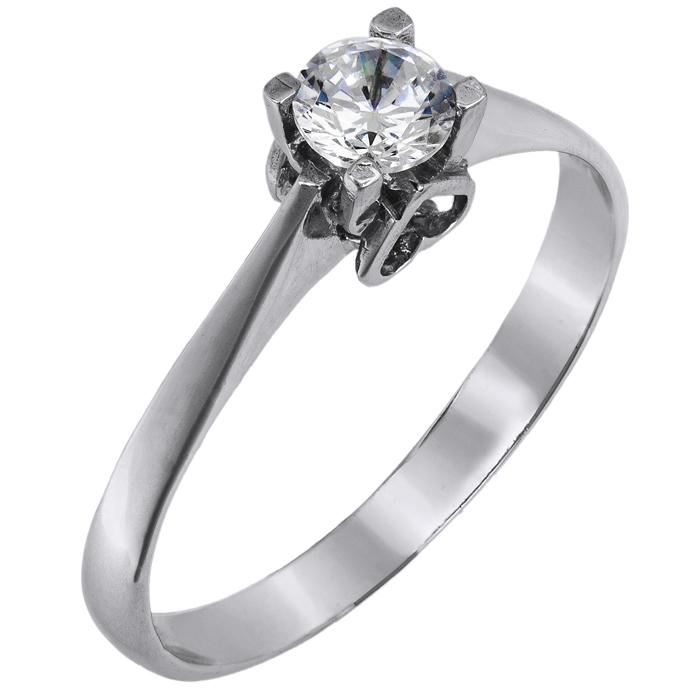 Μονόπετρο δαχτυλίδι χειροποίητο λευκόχρυσο 14Κ 024465 024465 Χρυσός 14 Καράτια