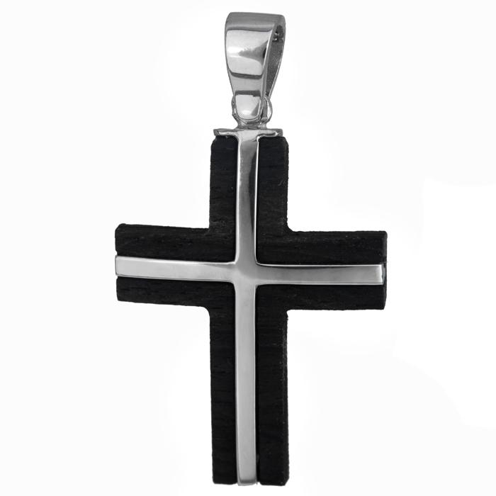 Σταυροί Βάπτισης - Αρραβώνα Χειροποίητος σταυρός λευκόχρυσος 14Κ με ξύλο έβενο 024473 024473 Ανδρικό Χρυσός 14 Καράτια