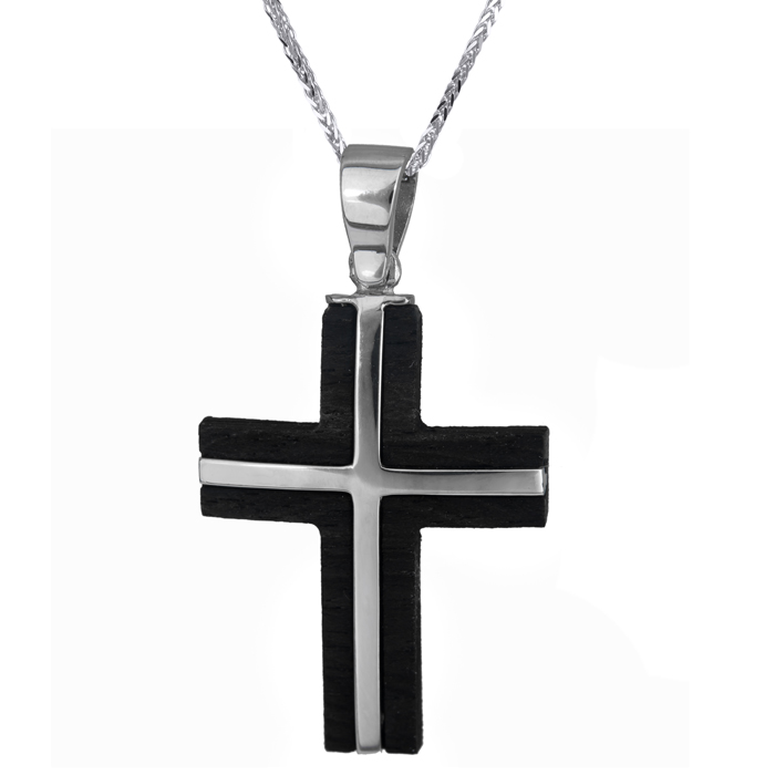Βαπτιστικοί Σταυροί με Αλυσίδα Ανδρικός σταυρός λευκόχρυσος 14Κ με ξύλο έβενο με καδένα 024473C 024473C Ανδρικό Χρυσός 14 Καράτια