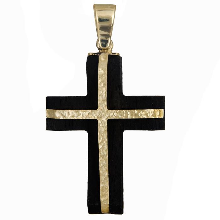 Σταυροί Βάπτισης - Αρραβώνα Σταυρός ανδρικός χρυσός 14Κ με ξύλο έβενο 024474 024474 Ανδρικό Χρυσός 14 Καράτια