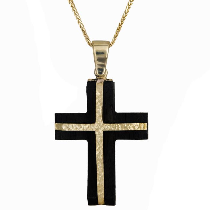 Βαπτιστικοί Σταυροί με Αλυσίδα Σταυρός ανδρικός χρυσός 14Κ με ξύλο έβενο και αλυσίδα 024474C 024474C Ανδρικό Χρυσός 14 Καράτια