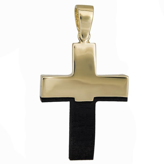Σταυροί Βάπτισης - Αρραβώνα Χειροποίητος ανδρικός σταυρός χρυσός 14Κ με ξύλο έβενο 024475 024475 Ανδρικό Χρυσός 14 Καράτια