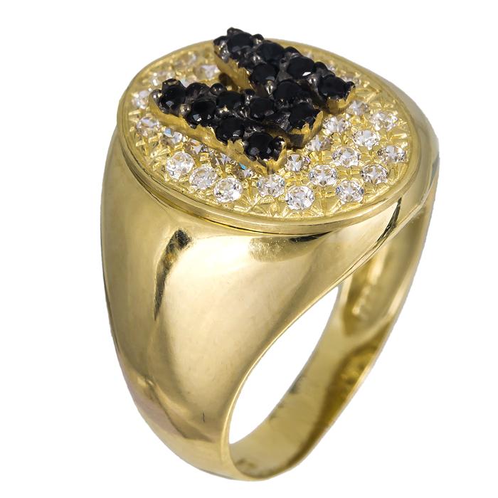 Δαχτυλίδι σεβαλιέ με το μονόγραμμα Μ Κ14 024476 024476 Χρυσός 14 Καράτια