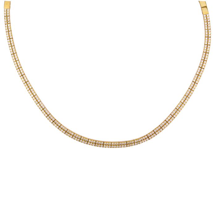 Κολιέ ίσιο δίσειρο με ζιργκόν χρυσό Κ14 024478 024478 Χρυσός 14 Καράτια