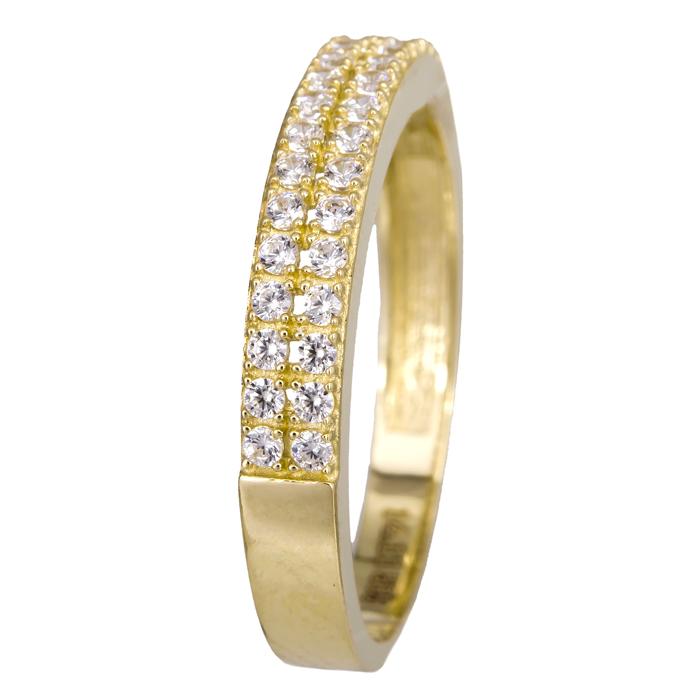 Χρυσό δαχτυλίδι ίσιο δίσειρο 14Κ με ζιργκόν 024481 024481 Χρυσός 14 Καράτια