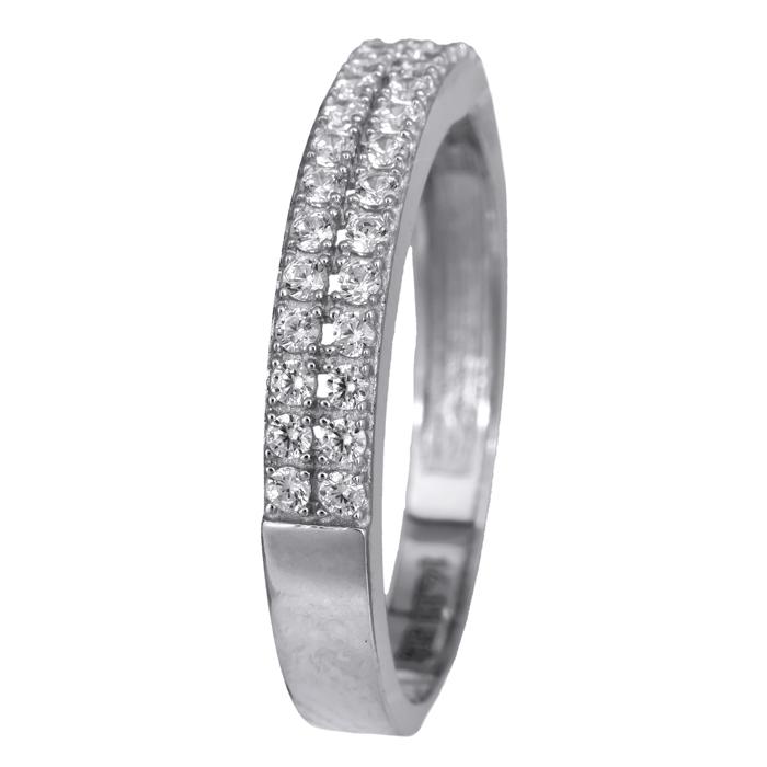 Δαχτυλίδι ίσιο δίσειρο λευκόχρυσο 14Κ με ζιργκόν 024482 024482 Χρυσός 14 Καράτια